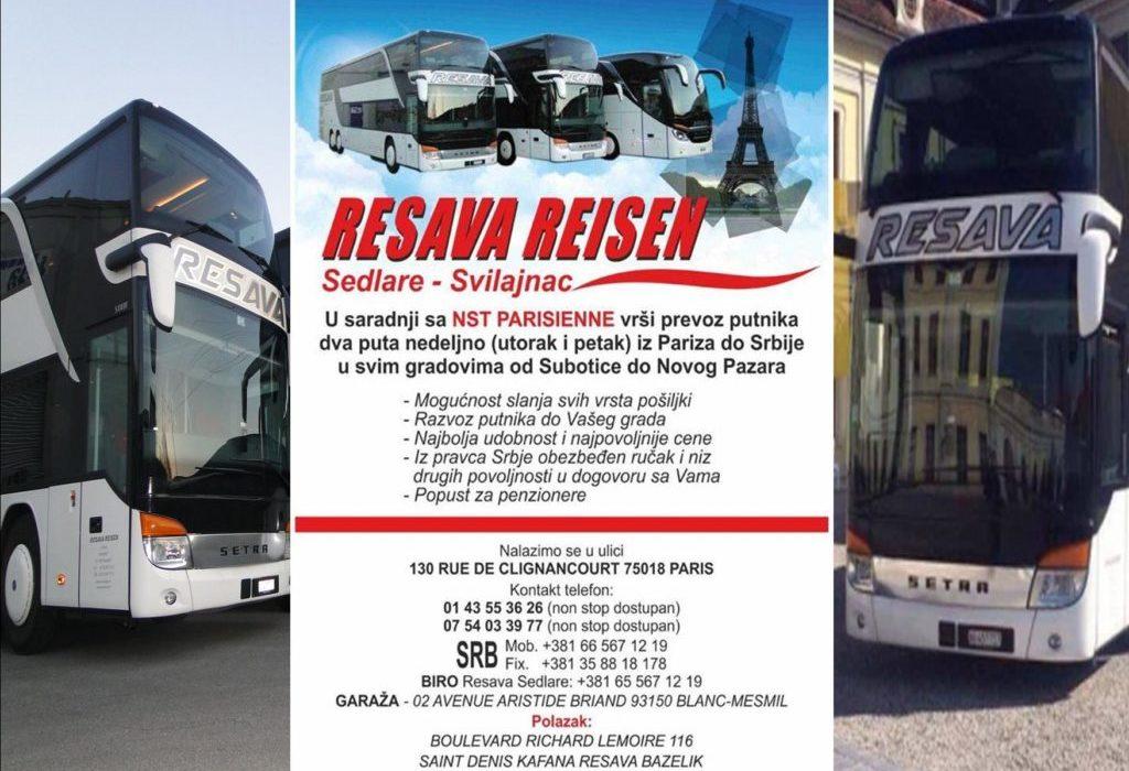 RESAVA REISEN – Najpovoljniji autobuski prevoz PARIZ – BEOGRAD – SVILAJNAC – NOVI PAZAR