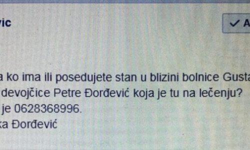 HITNO potrebna pomoć za Petru koja se leči u Parizu