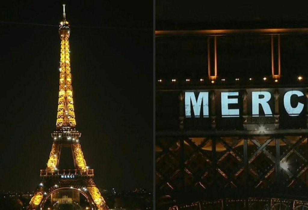 (VIDEO)»MERCI» sa Ajfelove kule za sve borce protiv Korona virusa u svetu