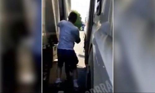 (VIDEO)Srpskom vozaču kamiona pukao film. Migranti mu ušli u kamion