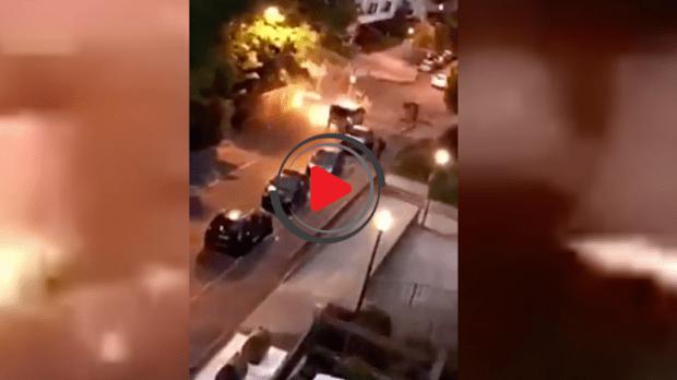 Pariz : Napadnuta policija molotovljevim koktelom. Kamere sve snimile