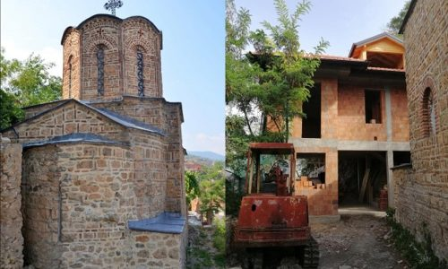 Au Kosovo, on construit une maison à coté de l'Église serbe datant de 1371